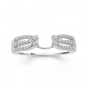 14KT GOLD 0.33CT DIAMOND PAVE SOLITAIRE ENHANCER RING
