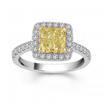 14KT GOLD 1.40CT DIAMOND NATURAL YELLOW WHITE  HALO RING