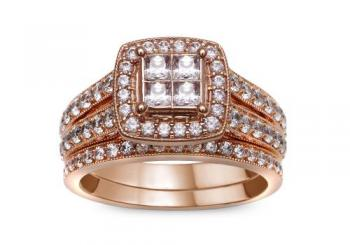 14KT GOLD 1.50CT DIAMOND ROSEGOLD BRIDAL SET