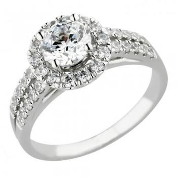 14KT GOLD 1.31 CT.T.W DIAMOND HALO BRIDAL RING