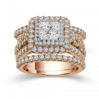 14KT GOLD 2.50CT DIAMOND  3RING BRIDAL SET