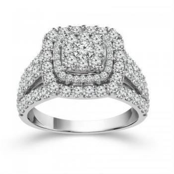 10KT GOLD 2.00CT DIAMOND HALO LADYS RING