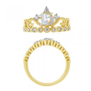 14KT GOLD 0.38CT SWEET15 CROWN DIAMOND RING